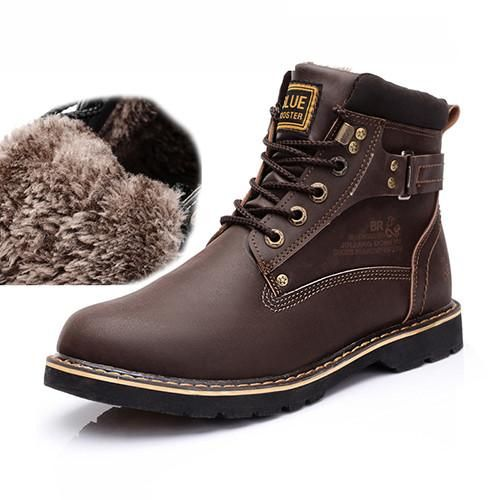 Men/'s Faux Leather Snow Boots Casual Lace Up Shoes Winter Warm Ankle Boots New