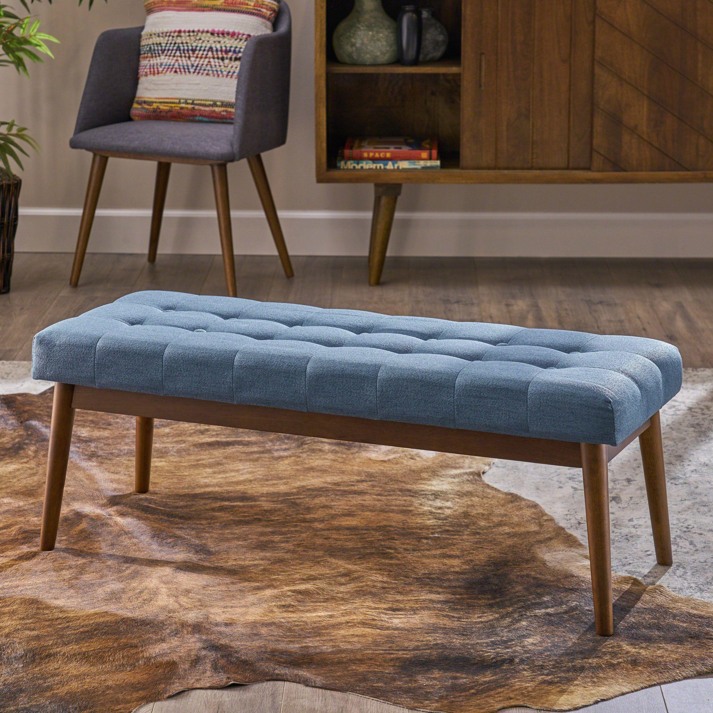 Flora Mid Century Button Tufted Fabric Ottoman Bench With Tapered Legs Fabric Ottoman Ottoman Ottoman Bench