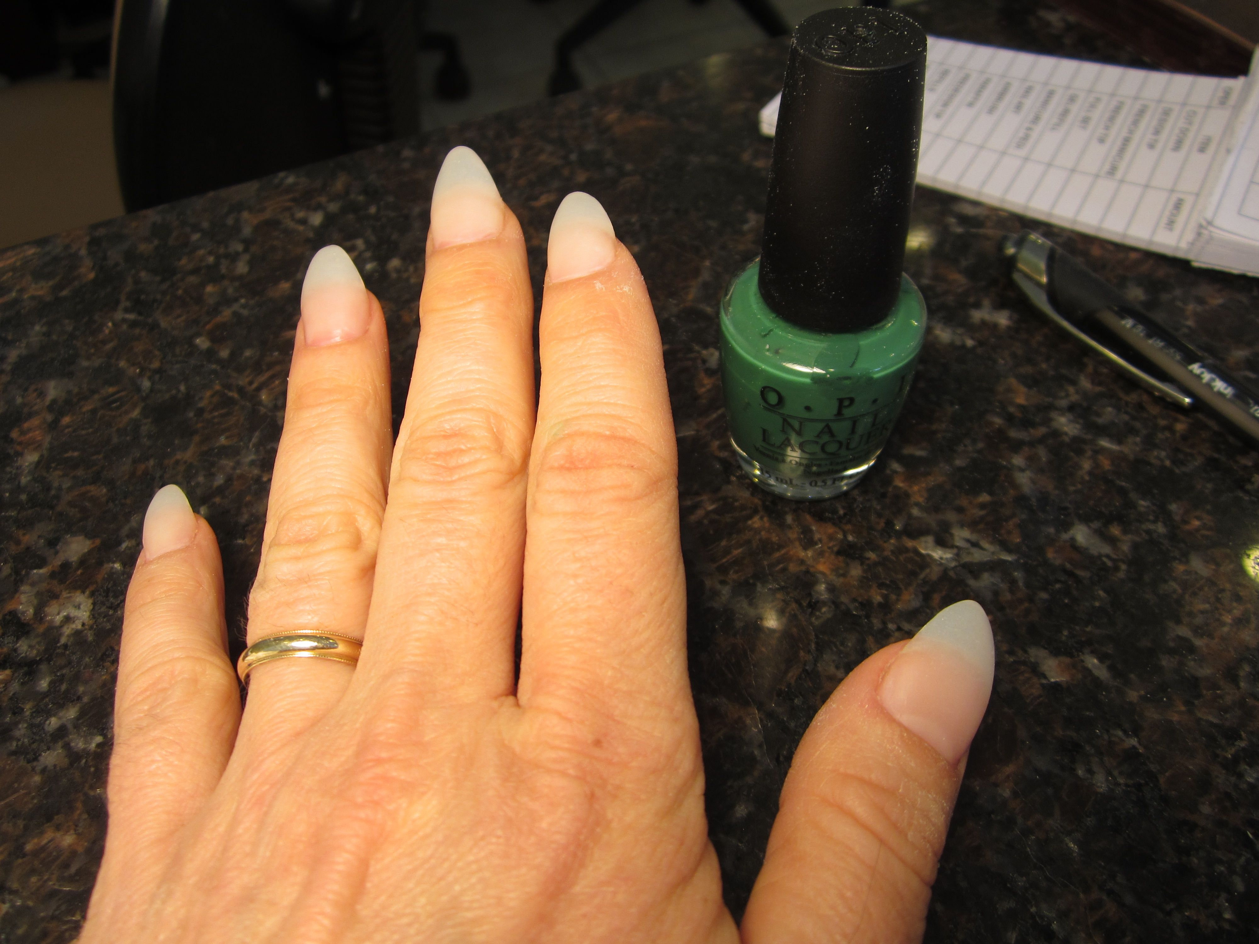 Painting The Acrylic Nails Green