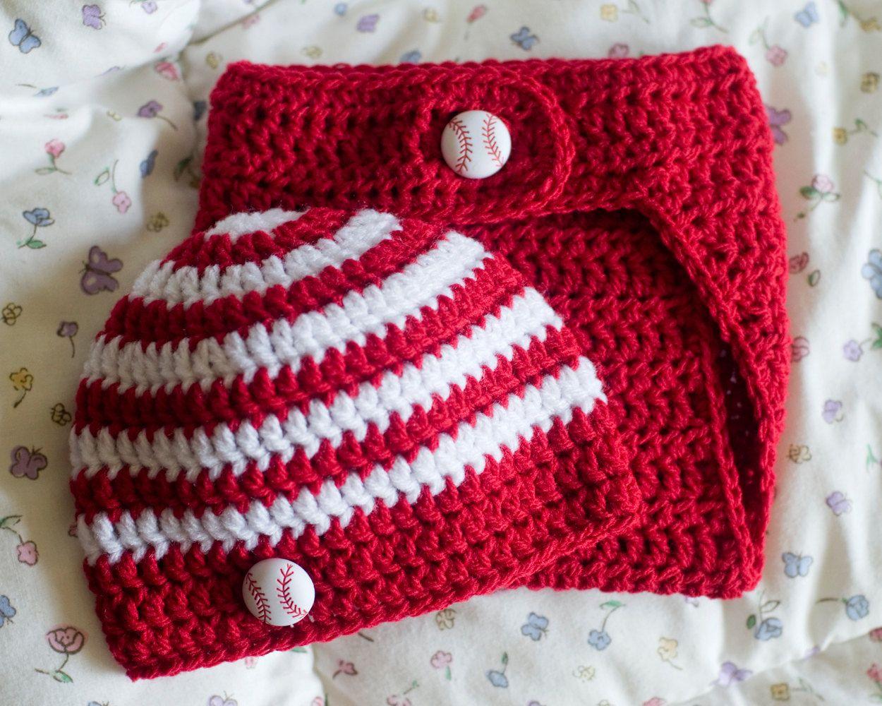 4ca789c2823 BABY BOYS SOCCER or Football Crocheted Baby Red   White Stripe ...
