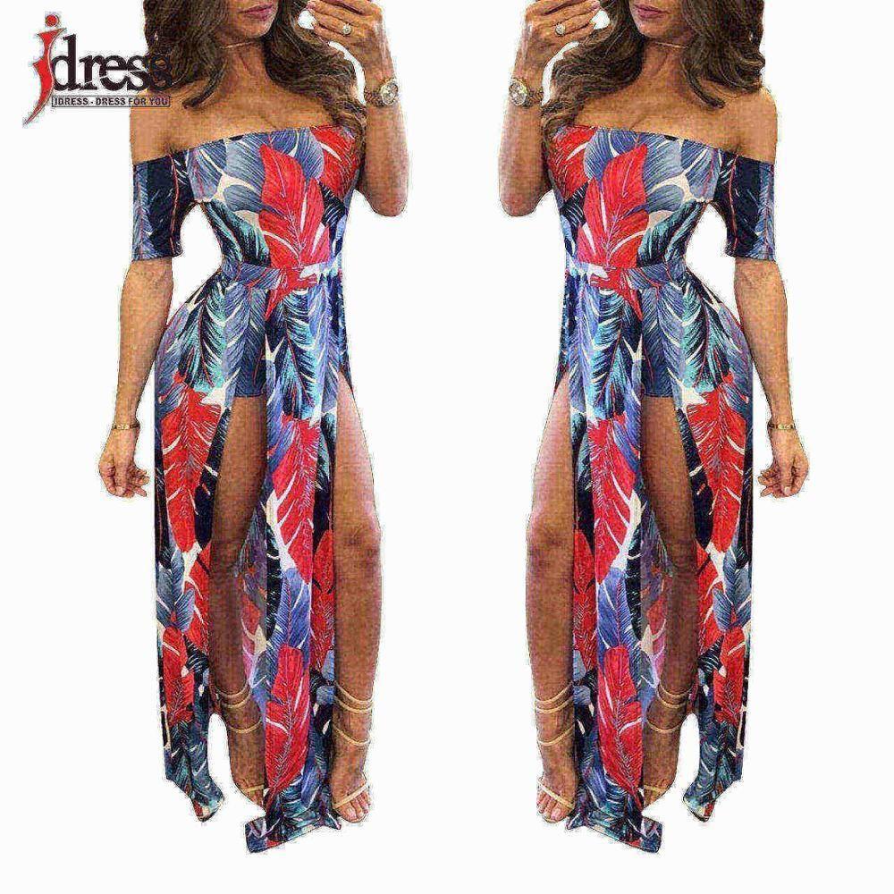 5fc99d6751 Hot Off the Shoulder Dress Women Sexy Romper Short Trousers Bodycon  Playsuit Print Spilt Maxi Long Dress