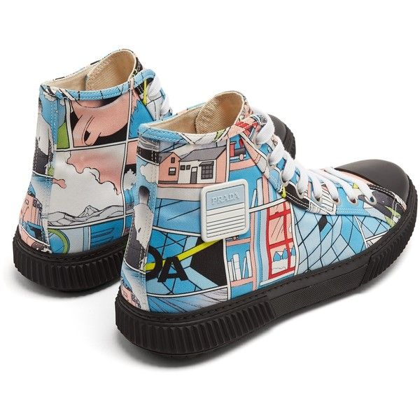 f2668300907add Prada Comic-print high-top canvas trainers ( 675) ❤ liked on Polyvore