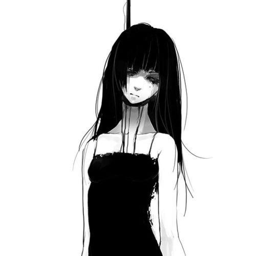 Anime, Black And White, And Suicide Image