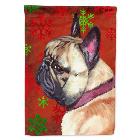French Bulldog Frenchie Red Snowflakes Holiday Christmas Garden