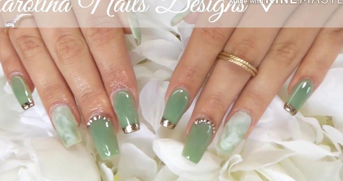 Jade Acrylic Nails Marble Nails Youtube In 2020 Jade Nails Green Nail Designs Wedding Nail Polish