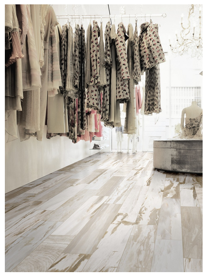 "Beautiful natural ""wood"" tile almost looks whitewashed ..."