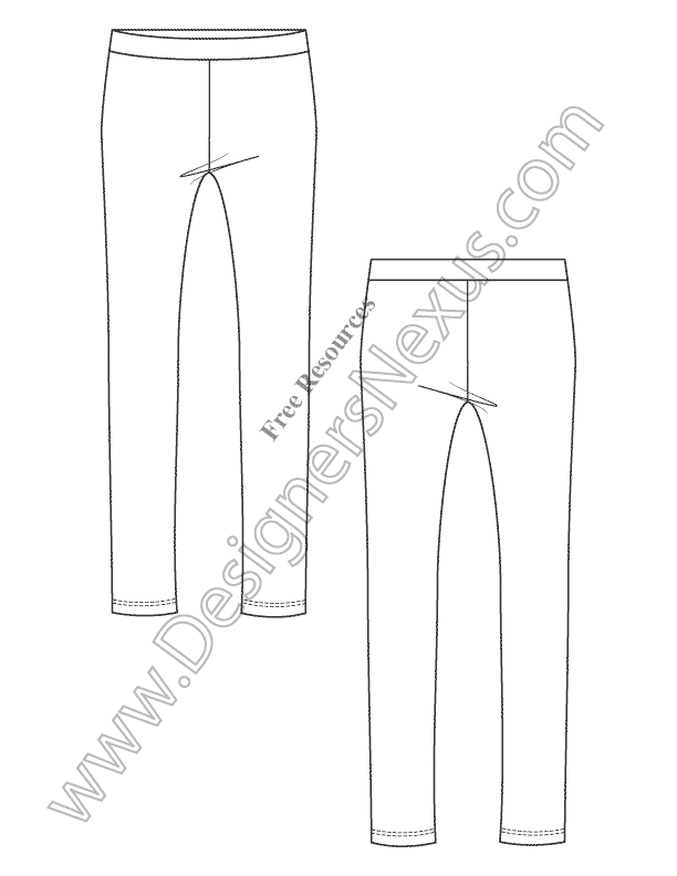 V5 Knit Leggings Free Illustrator Fashion Technical Drawing Template ...