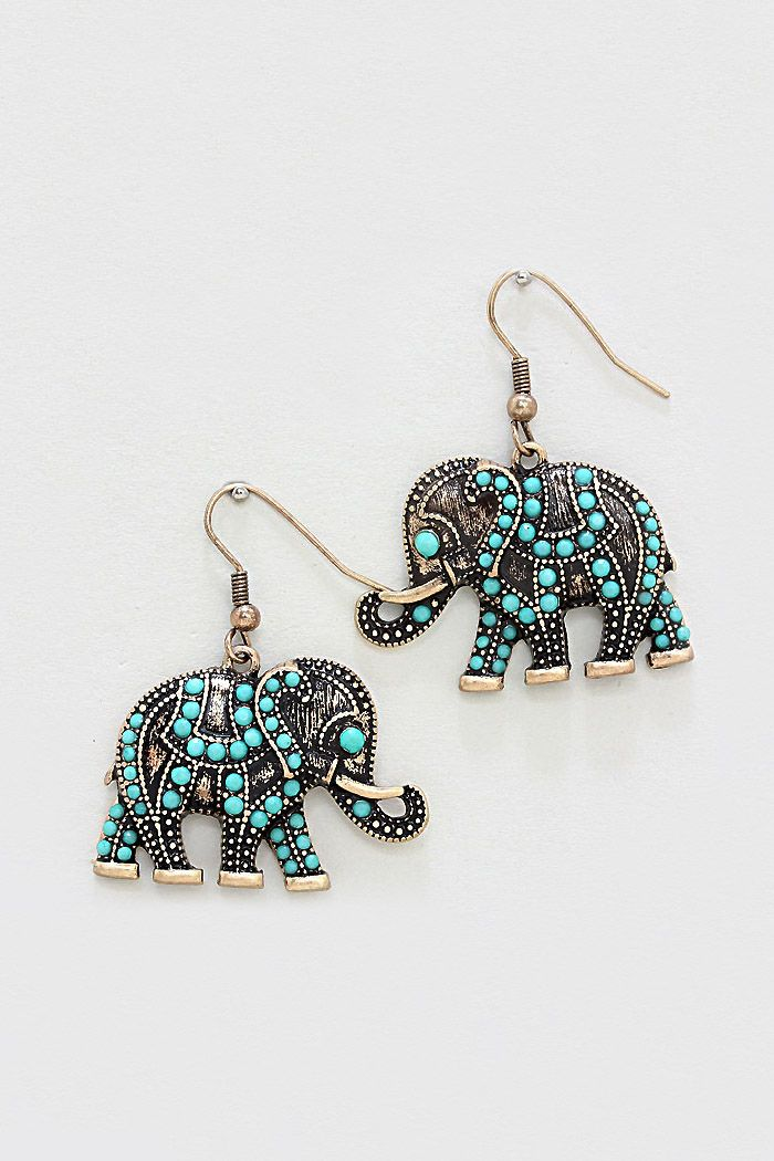 8fd76088f0a8 Elephants with trunk up are good luck. Love the turquoise on these.  Turquoise Dotted Elephant Earrings