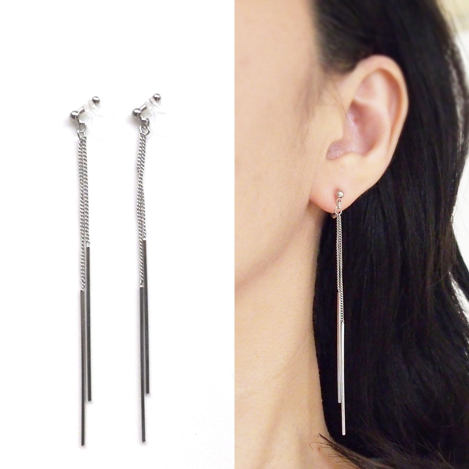 Bar Invisible Clip On Earrings Dangle Silver Threader Non Pierced Minimal Jewelry Long Chain