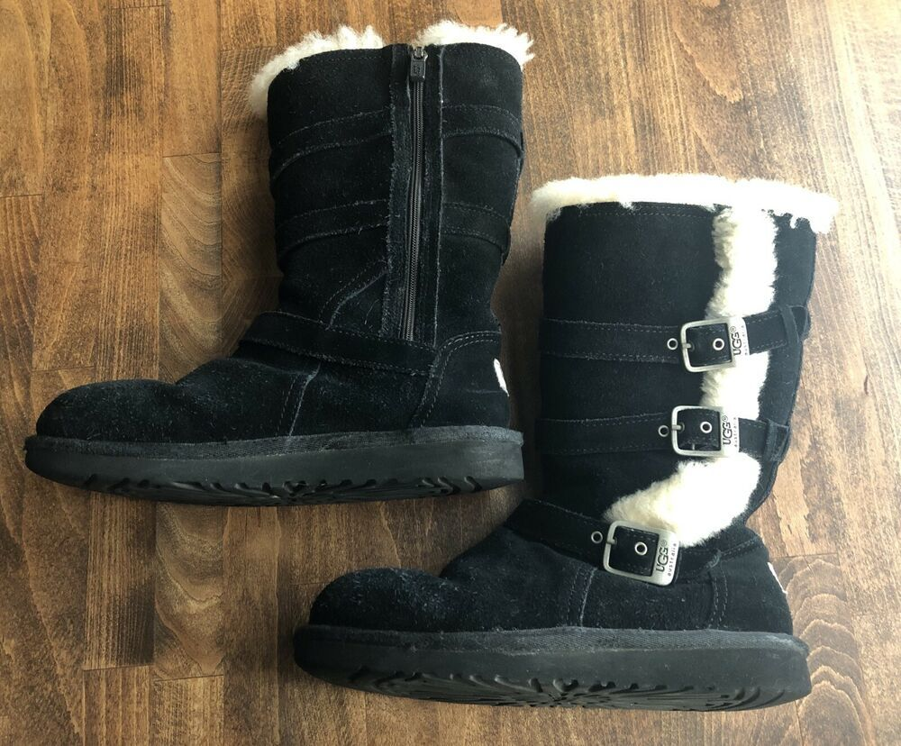 d39353f3529 Ugg Australia Maddi Triple Buckle Black Zipper Boots Girls/Youth ...