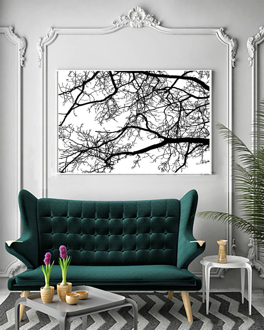 Large Poster Tree Branches As Wall Art Living Room Decor Or Bedroom Decor White And Black Poster Wall Art Decor Living Room Wall Art Living Room Branch Decor
