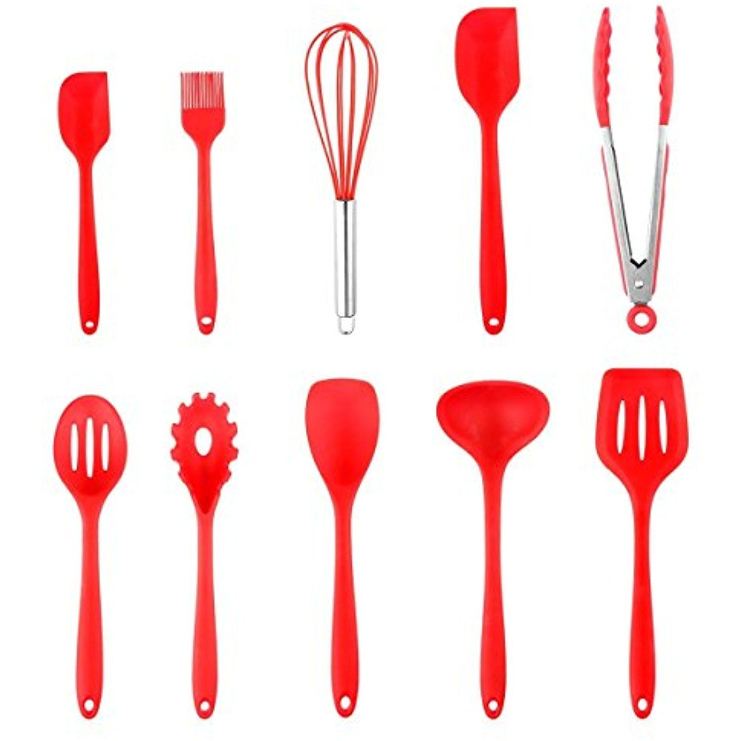Silicone Cooking Utensils Powstro 10 PCS Hygienic Solid Coating