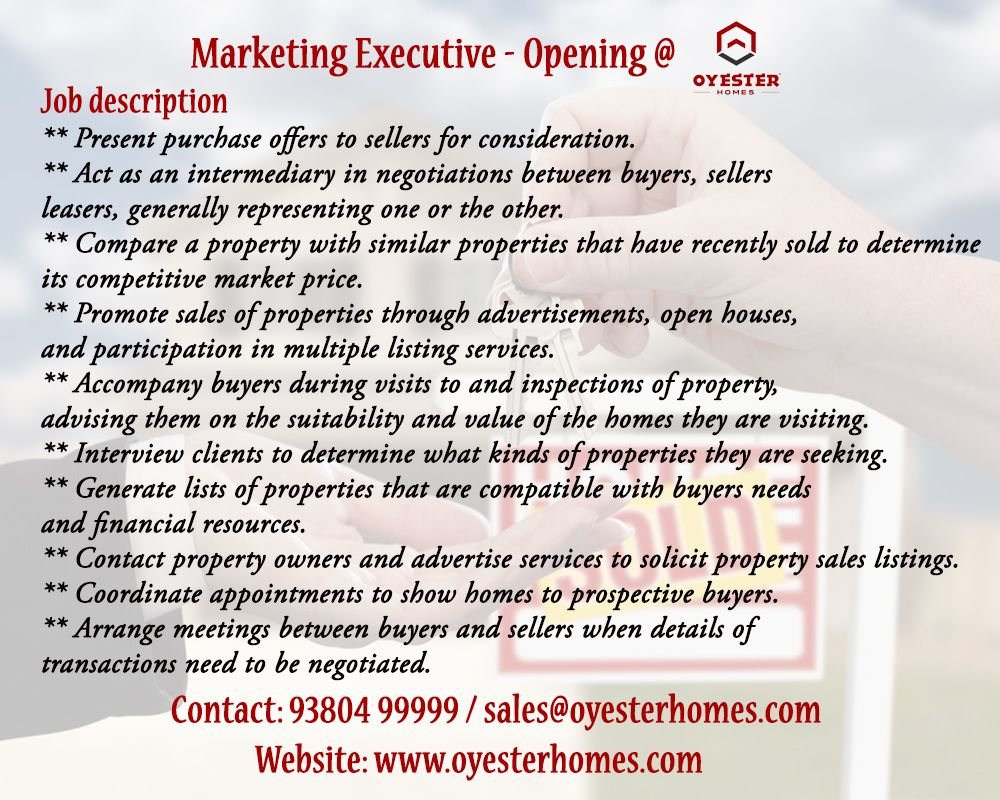 Searching For Real Estate Jobs Required Candidate For The Post Of Marketing Executive Marketing Manager In Chennai Wi Real Estate Jobs Job Job Opportunities