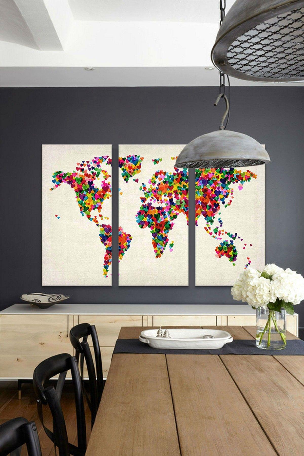 World Map Hearts II 3 Panel Sectional Wall Art HauteLook