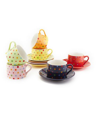 Take a look at this Yedi Houseware Polka Dot Cup & Saucer Set by ...