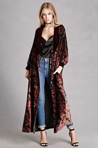 8ce7a986304548 A repurposed vintage velvet kimono featuring an allover floral and paisley  print