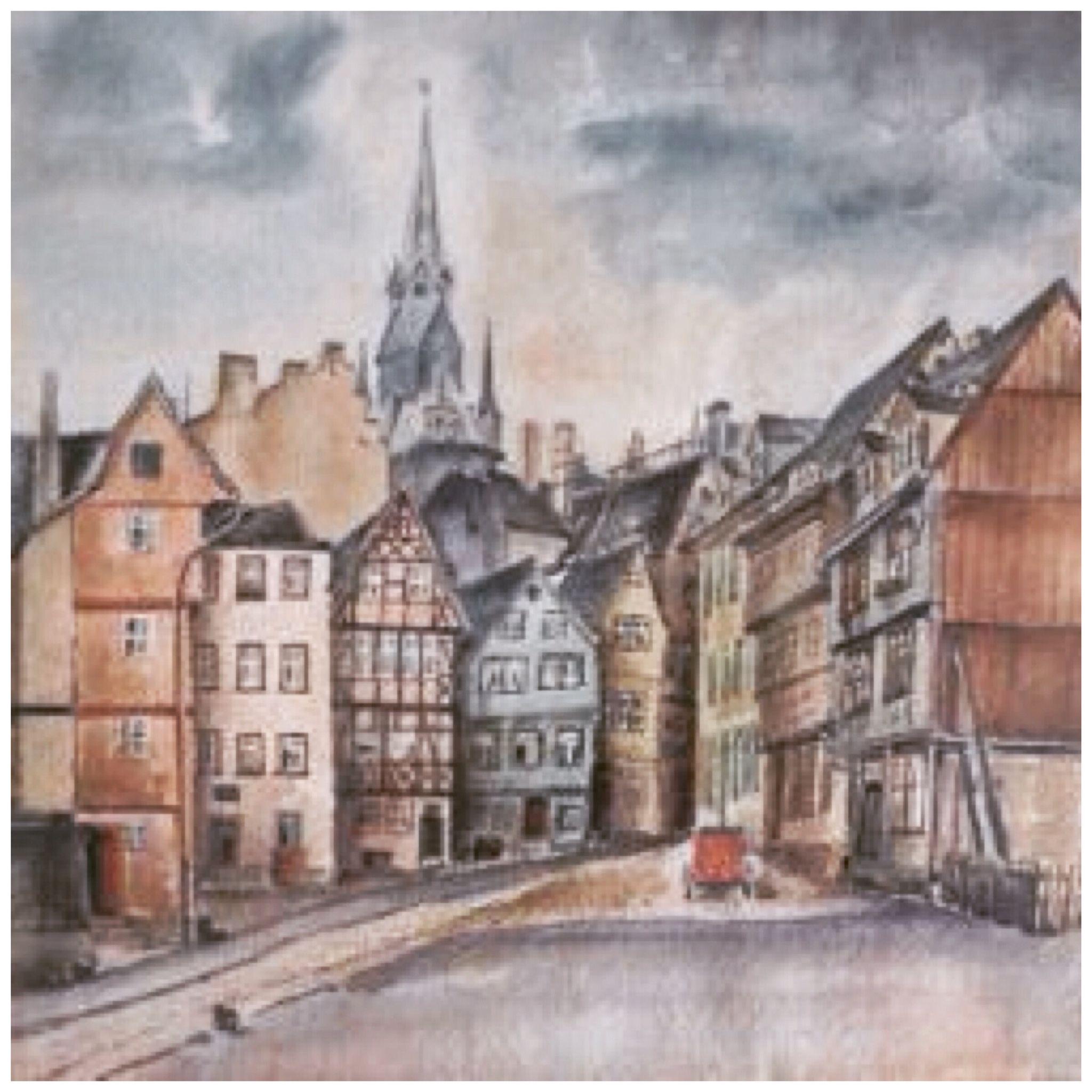 Medieval houses and market church, Halle/S, Germany, painted in 1936 by Hans Studenroth
