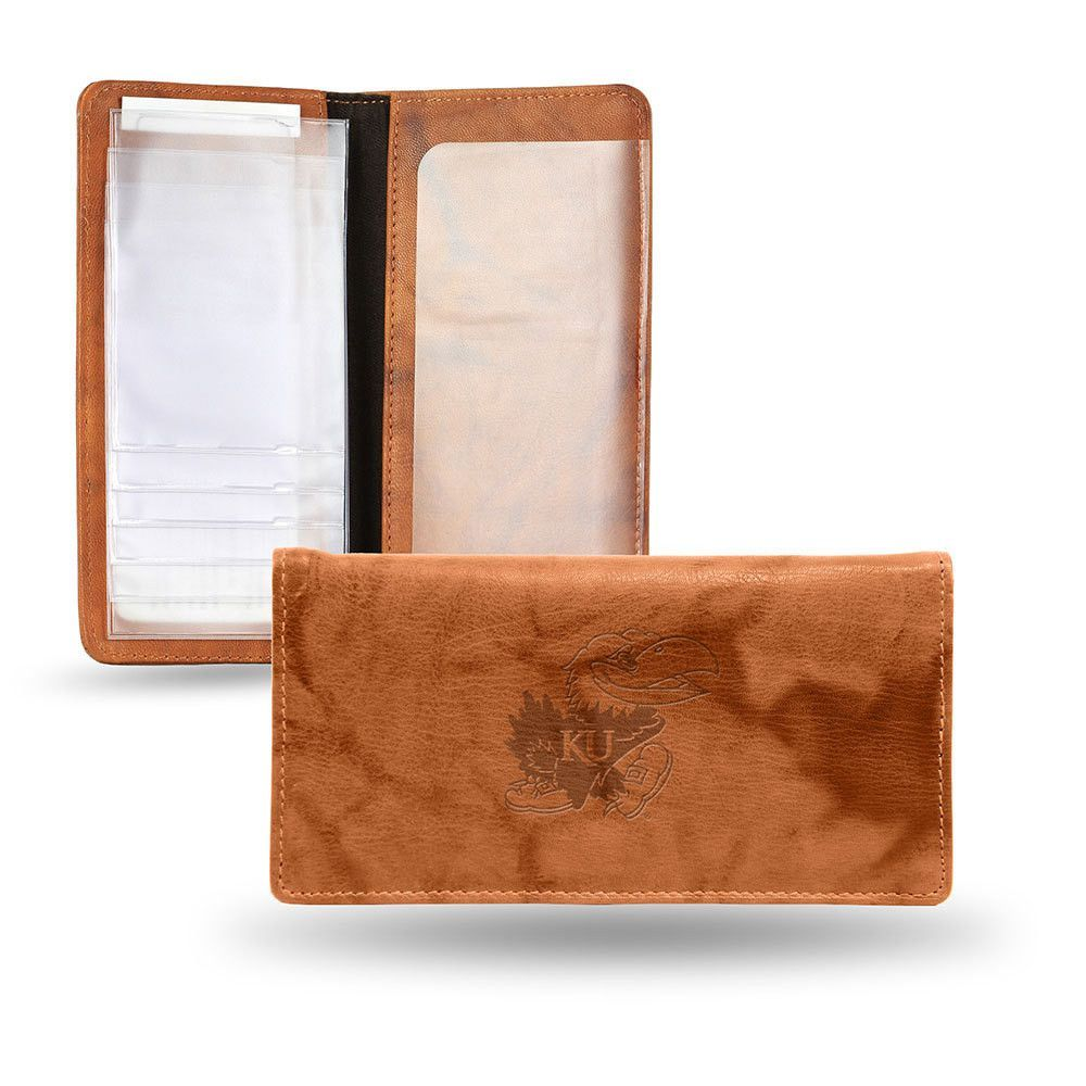 Kansas Jayhawks NCAA Embossed Checkbook Holder (Pecan Cowhide)