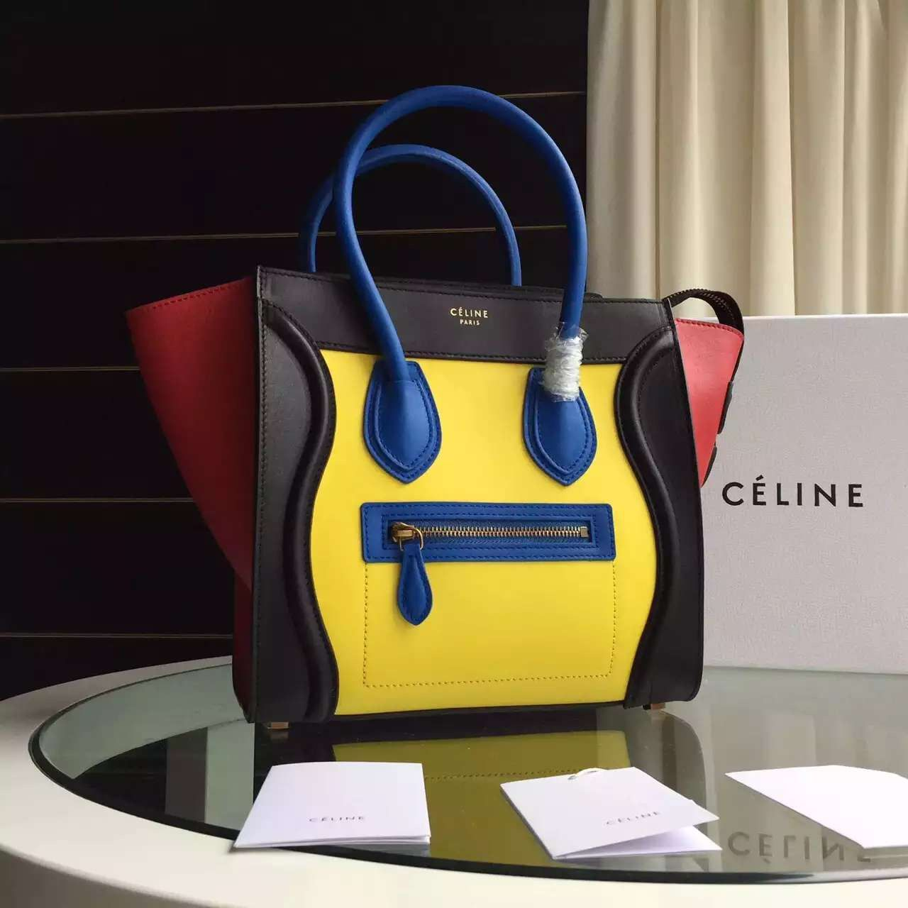 c6a862a464 Celine Multicolor Micro Mini Luggage Handbag in Smooth Calfskin  Yellow Black Red Blue