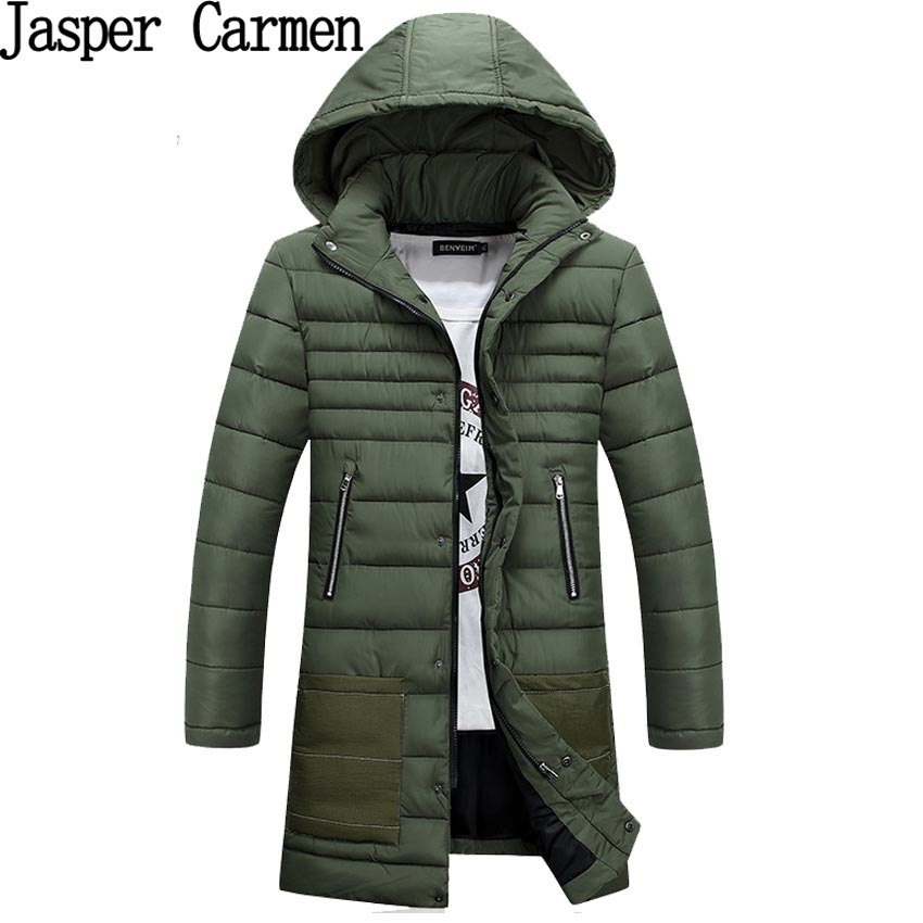 43.89$  Watch now - http://ali2vh.worldwells.pw/go.php?t=32758092653 -  Free shipping new men's Solid Long Parkas Fashion Down jacket Casual  hooded cotton wadded coat Four colors 120yw 43.89$