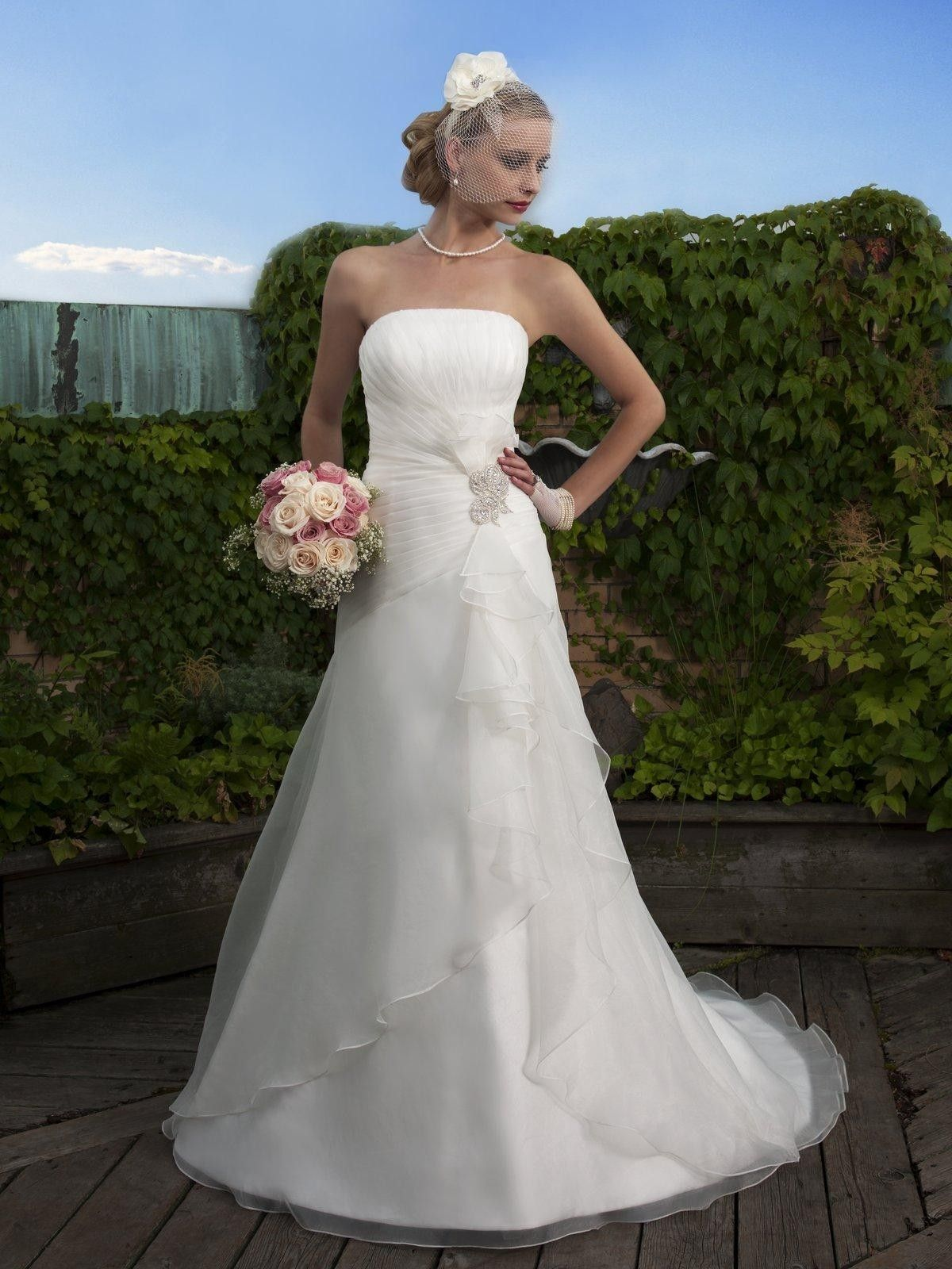 Organza/Satin Strapless Neckline Aline Wedding Dress 258