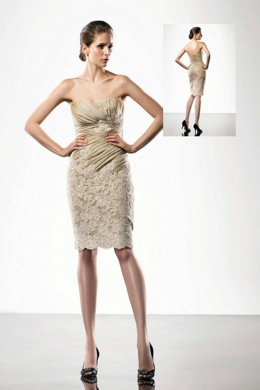 Cool designer cocktail dress sale contemporary wedding dress ideas ruched lace appliques handmade embroidery brown strapless designer ombrellifo Images