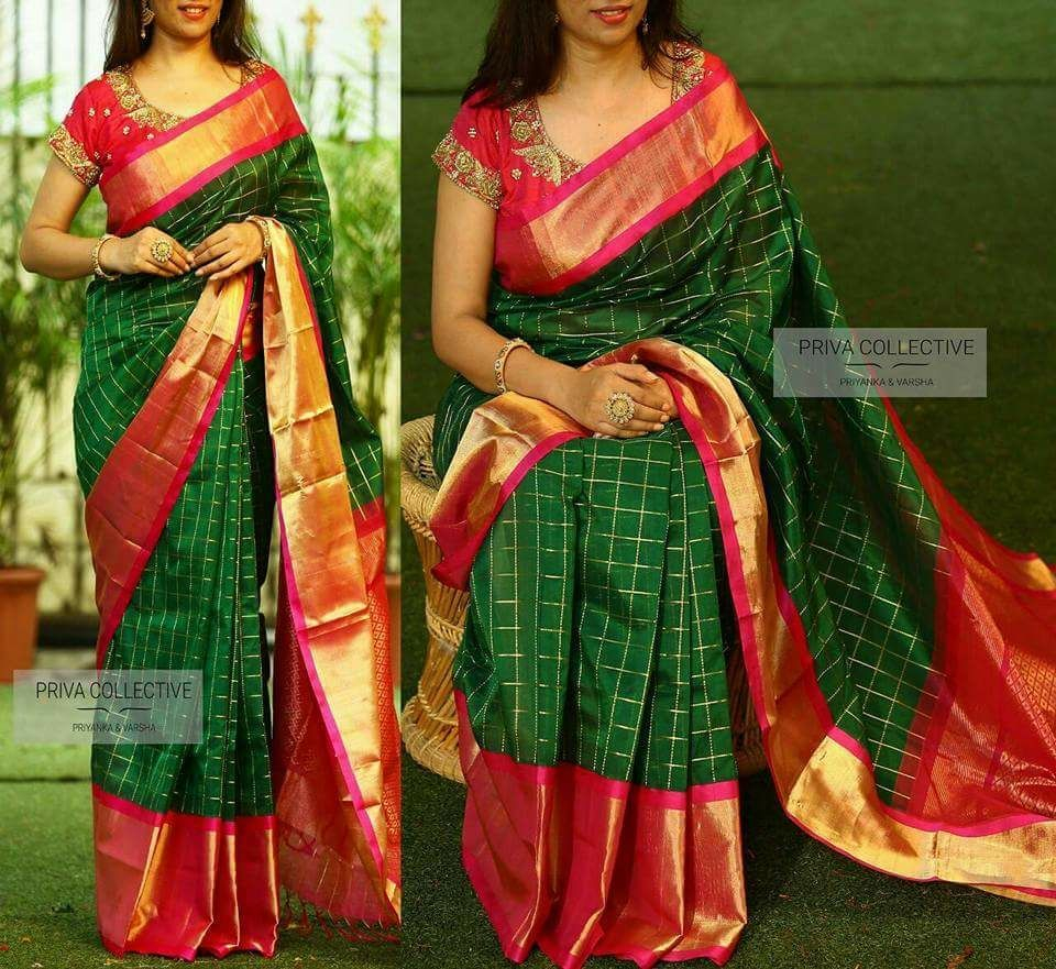 4068f9a920bb0f Dark green with pink kuppadam silk sarees