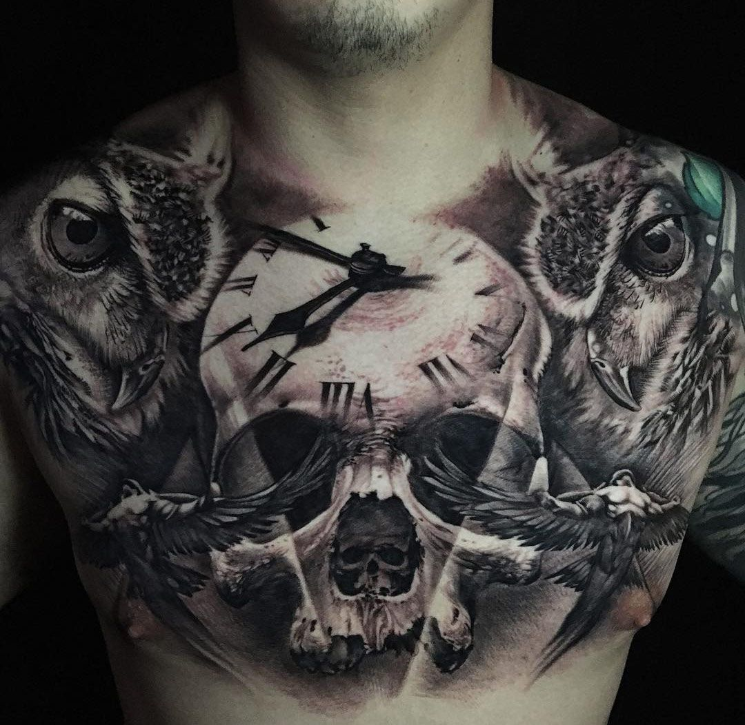 Tattoo Clock Wing Chest: Chest Tattoo With Skull, Clock & Owls
