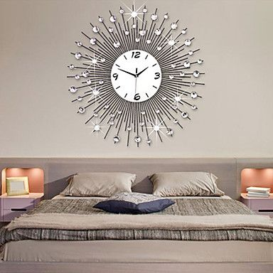 Sun Like Mirror Wall Clock Wall Clocks Living Room Silver Wall