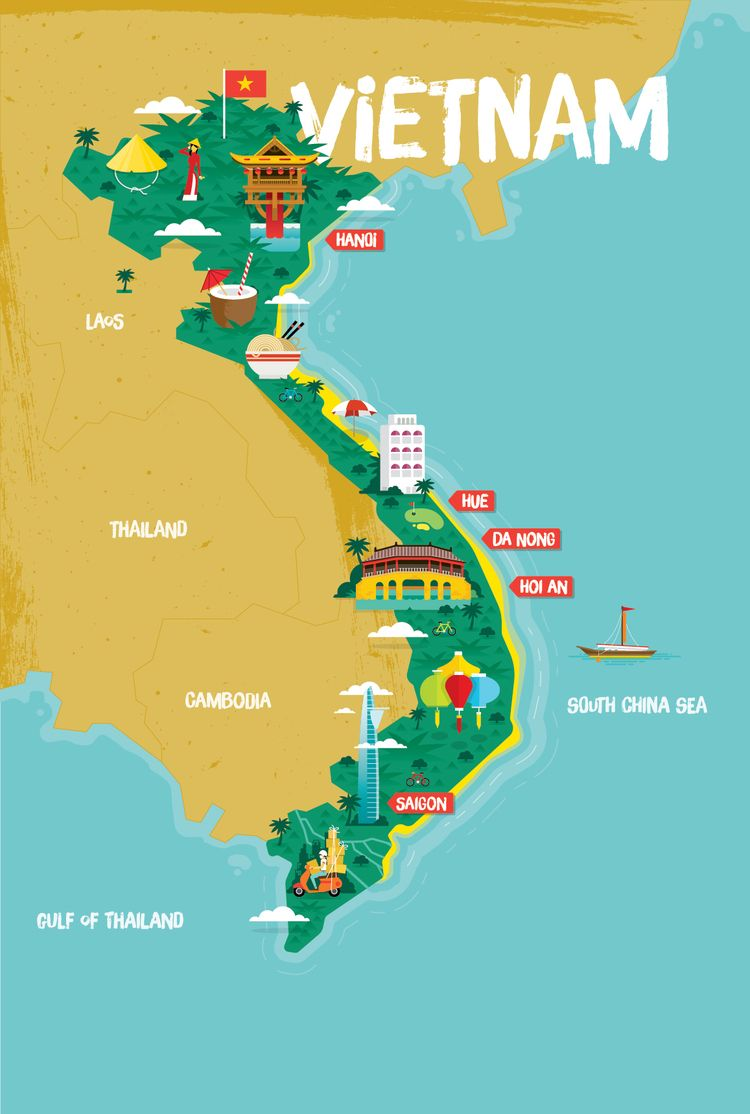Vietnam Map By Stuart Holmes Vietnam Map Tourist Map Vietnam