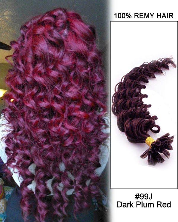 16 99j Dark Plum Red Deep Wave Nail Tip U Tip 100 Remy Hair