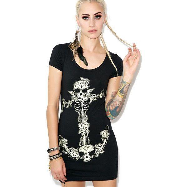 Sexy Zipper Jag Skull Printed Dress