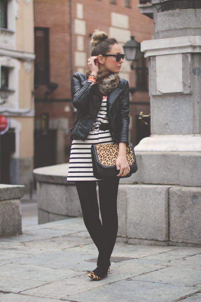 Priscila Betancort - vestido blanco y negro + leopardo