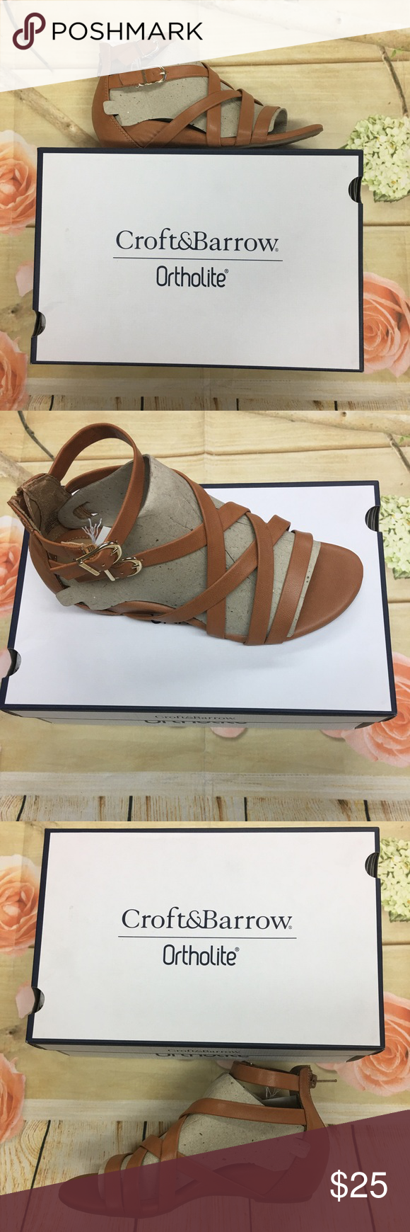 473f603b4053 Croft  amp  Barrow maiden gladiator sandals 7.5WIDE Buckle details  Ortholite technology enables air flow