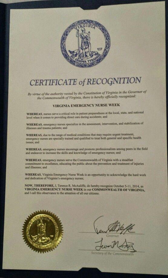 Virginia governor terry mcauliffe has signed a certificate of virginia governor terry mcauliffe has signed a certificate of appreciation for virginia emergency nurses yadclub Images