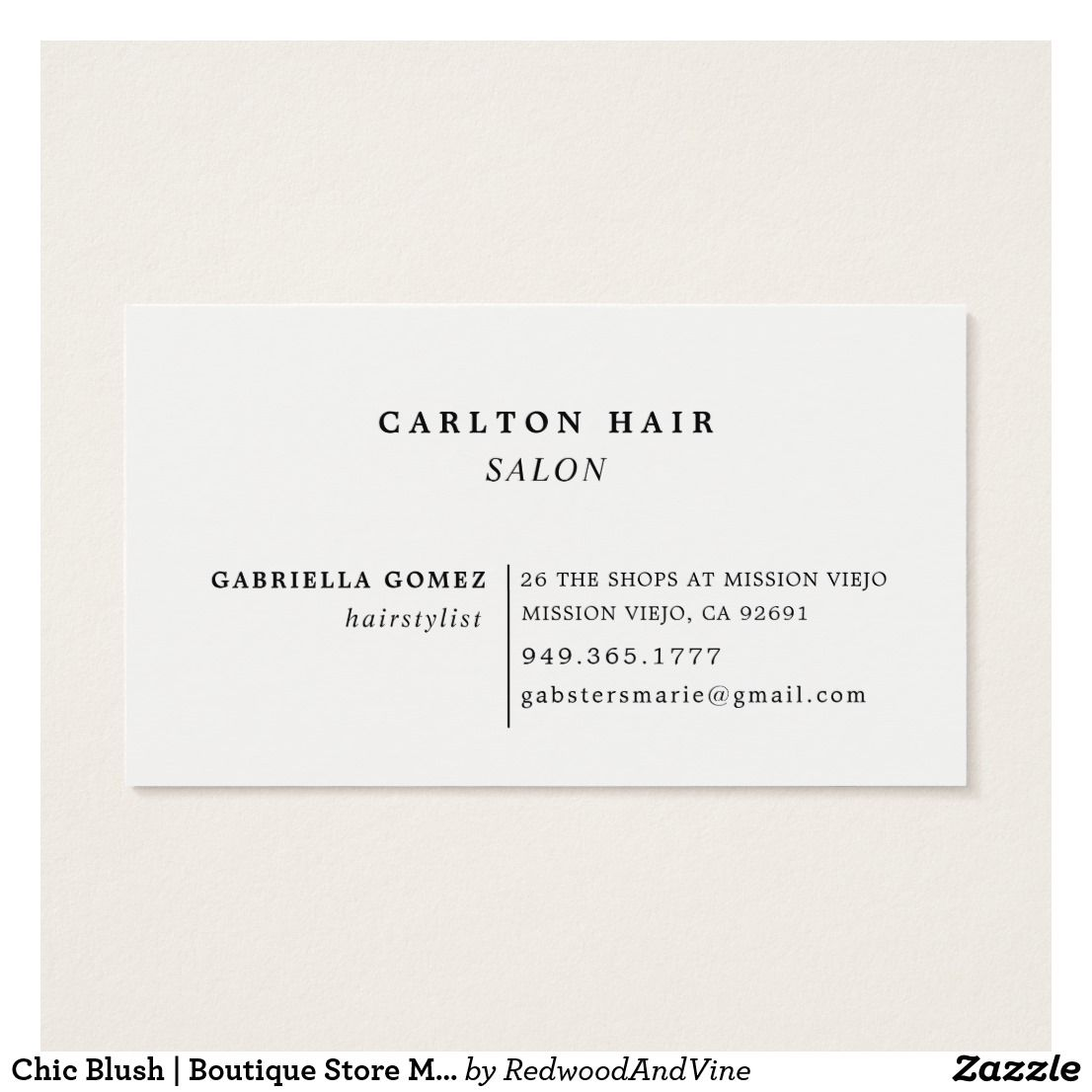 Chic Blush | Boutique Store Manager Business Card | Business cards ...