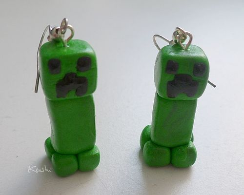Creeper earrings - Minecraft by ~Kenshart on deviantART
