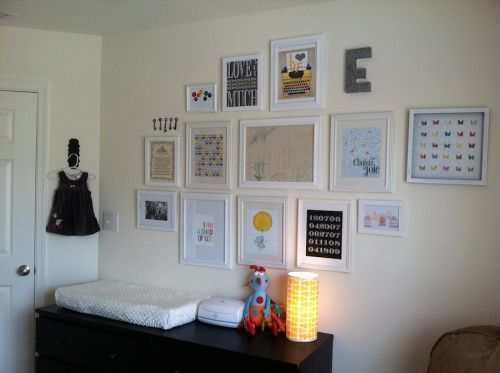 gallery wall. white walls white frames.