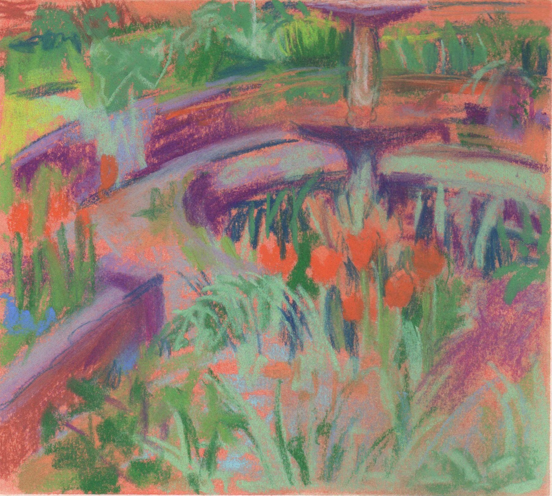 Orange Tulips Old House pastel on paper  June 2015 6 x 6, Rebecca Moss Guyver