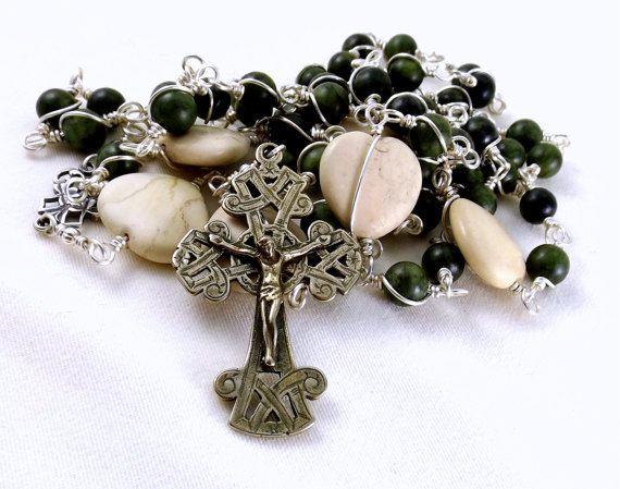 Irish Rosary Beads Celtic Dark Green Connemara Marble