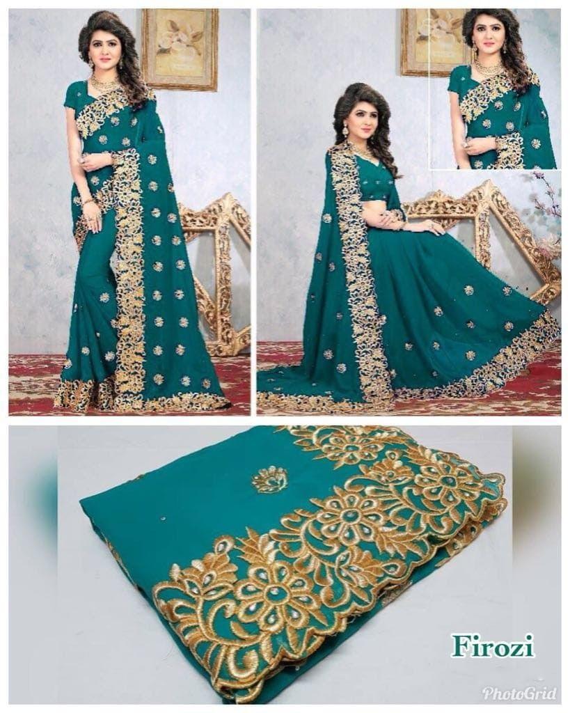 Firozi colour georgette saree with zari work banglori cotton with