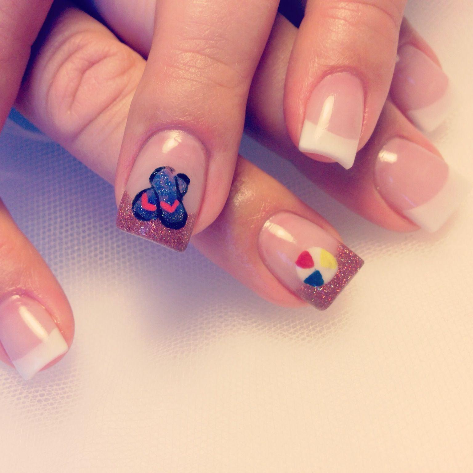 Flip Flops and a Beach Ball nail art | Nails: Summer Time ...