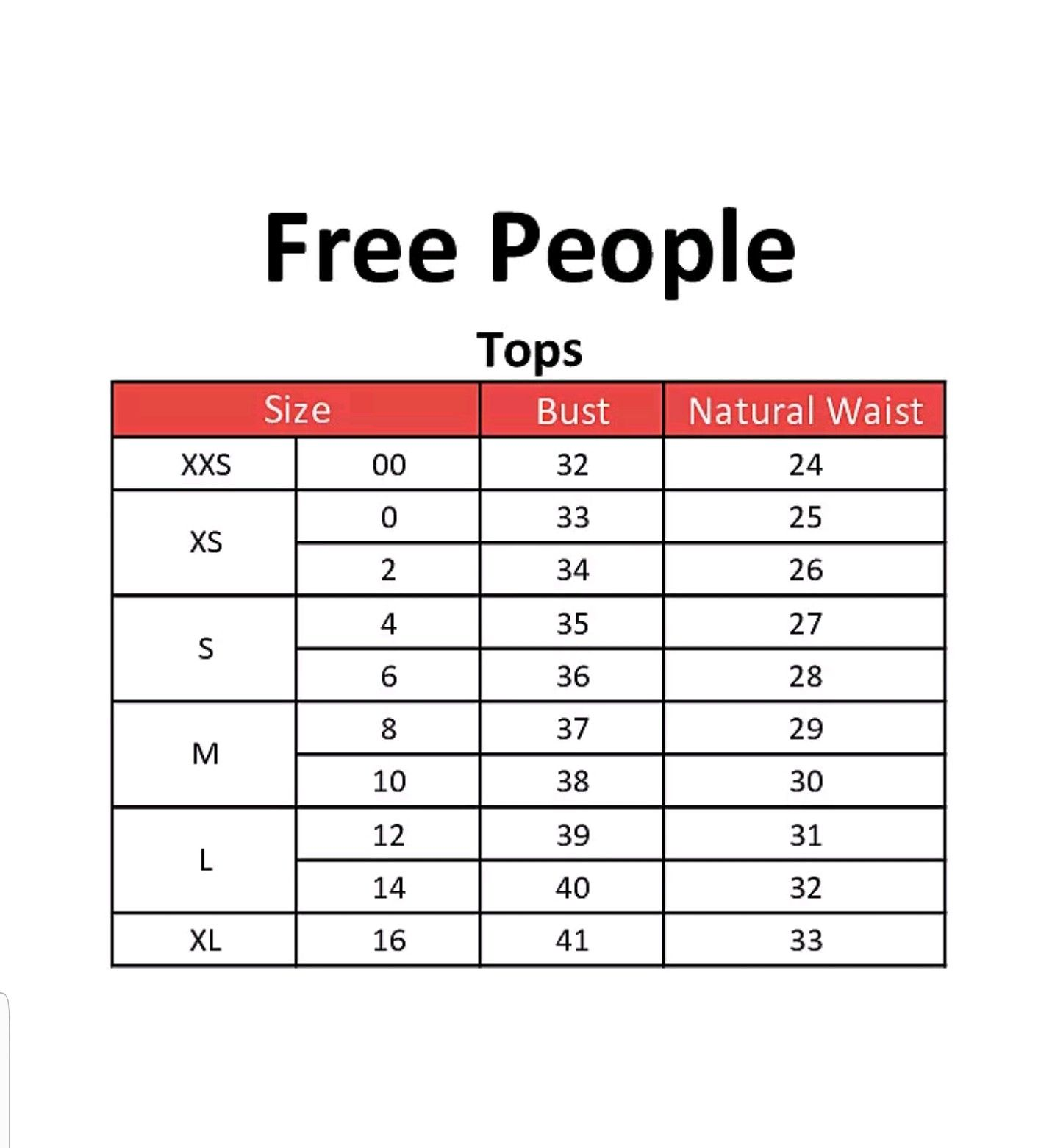 Free People Clothing Size Chart Charts Graphics