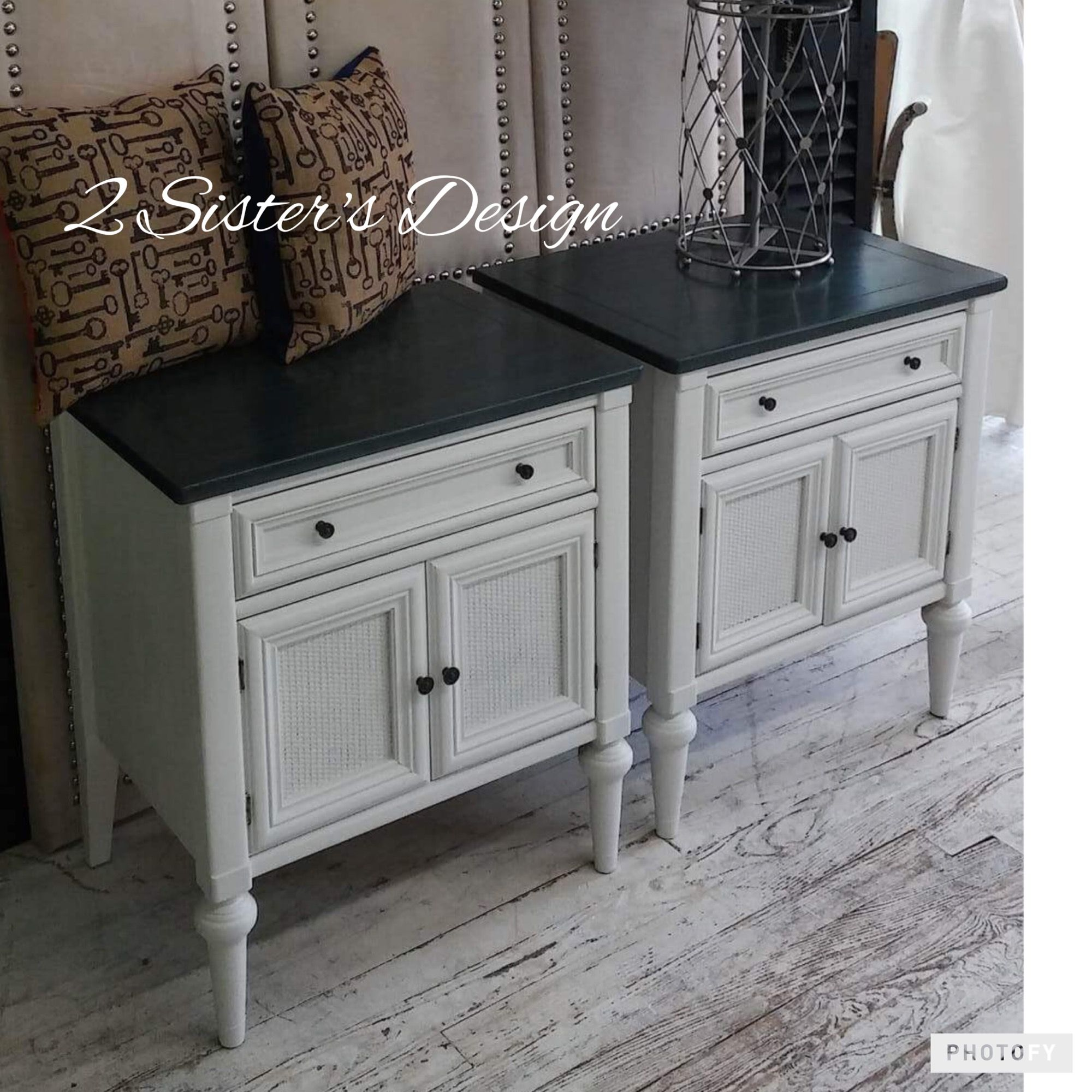 Farmhouse Style Nightstands Painted With Dixie Belle Paint Colors Fluff And Stormy Seas With Black Refurbished Furniture Painted Furniture Dixie Belle Paint