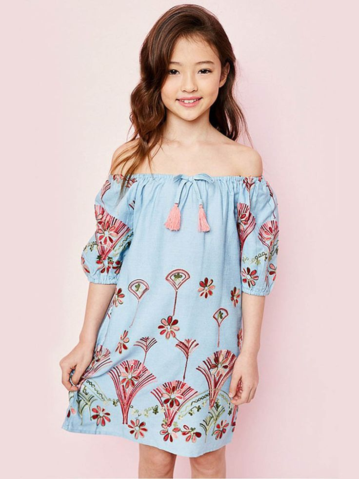 ba649bb7e4ad Embroidery Strapless Half Sleeves Dress