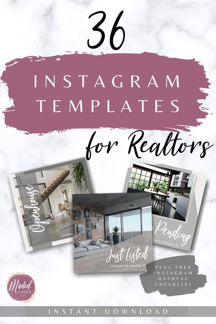 36 Instagram Templates for Realtors -  Real Estate Marketing Tools, Marketing Materials