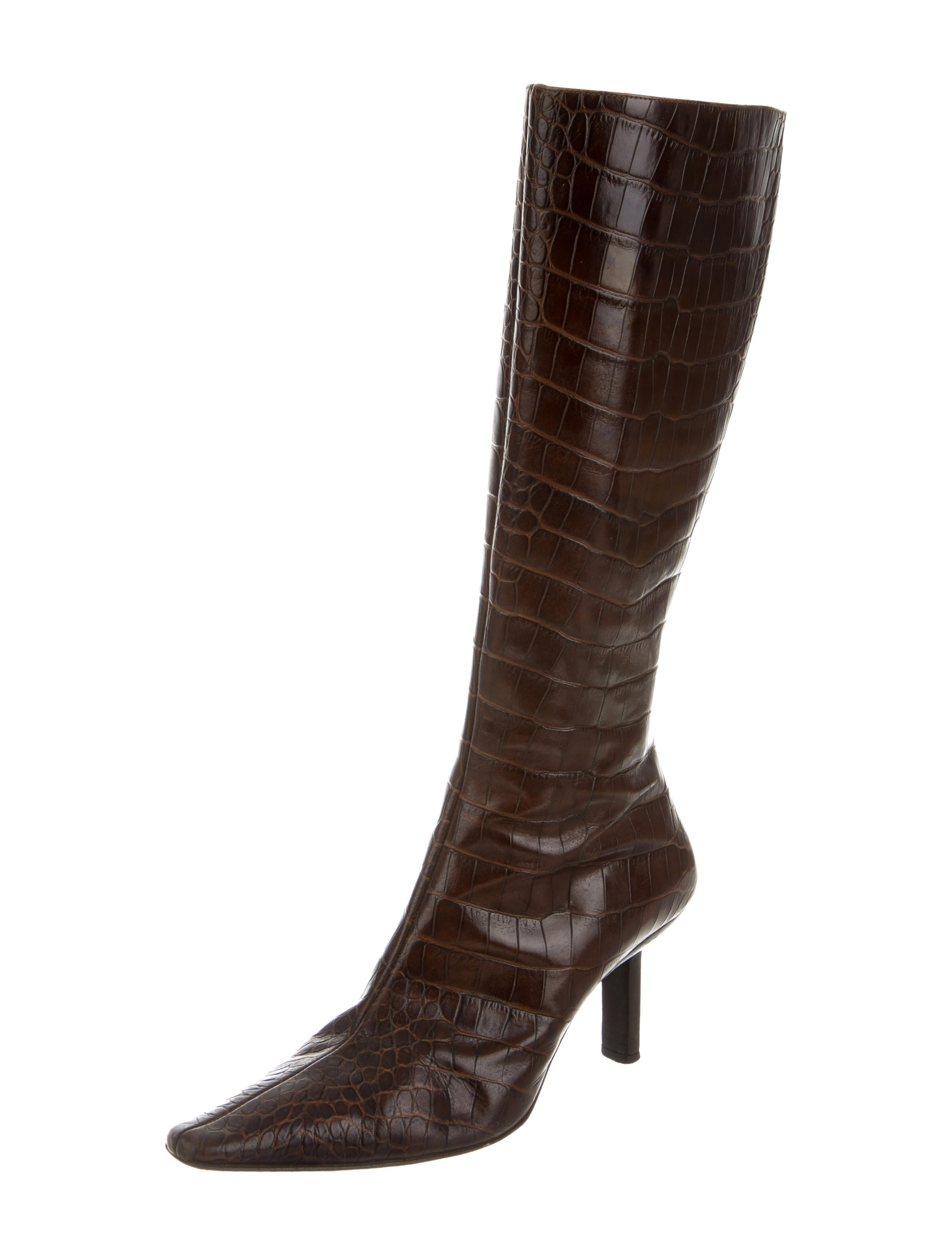 Bruno Magli Crocodile Knee-High Boots