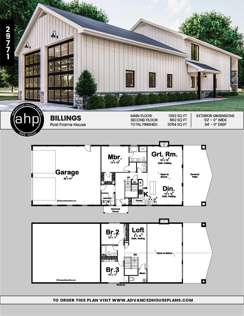 Post Frame Home Barndominium Plan Billings Barn House Plans Barn Style House Shop House Plans