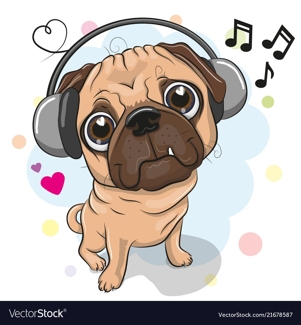 Cute Cartoon Pug Dog With Headphones Vector Image On Cica