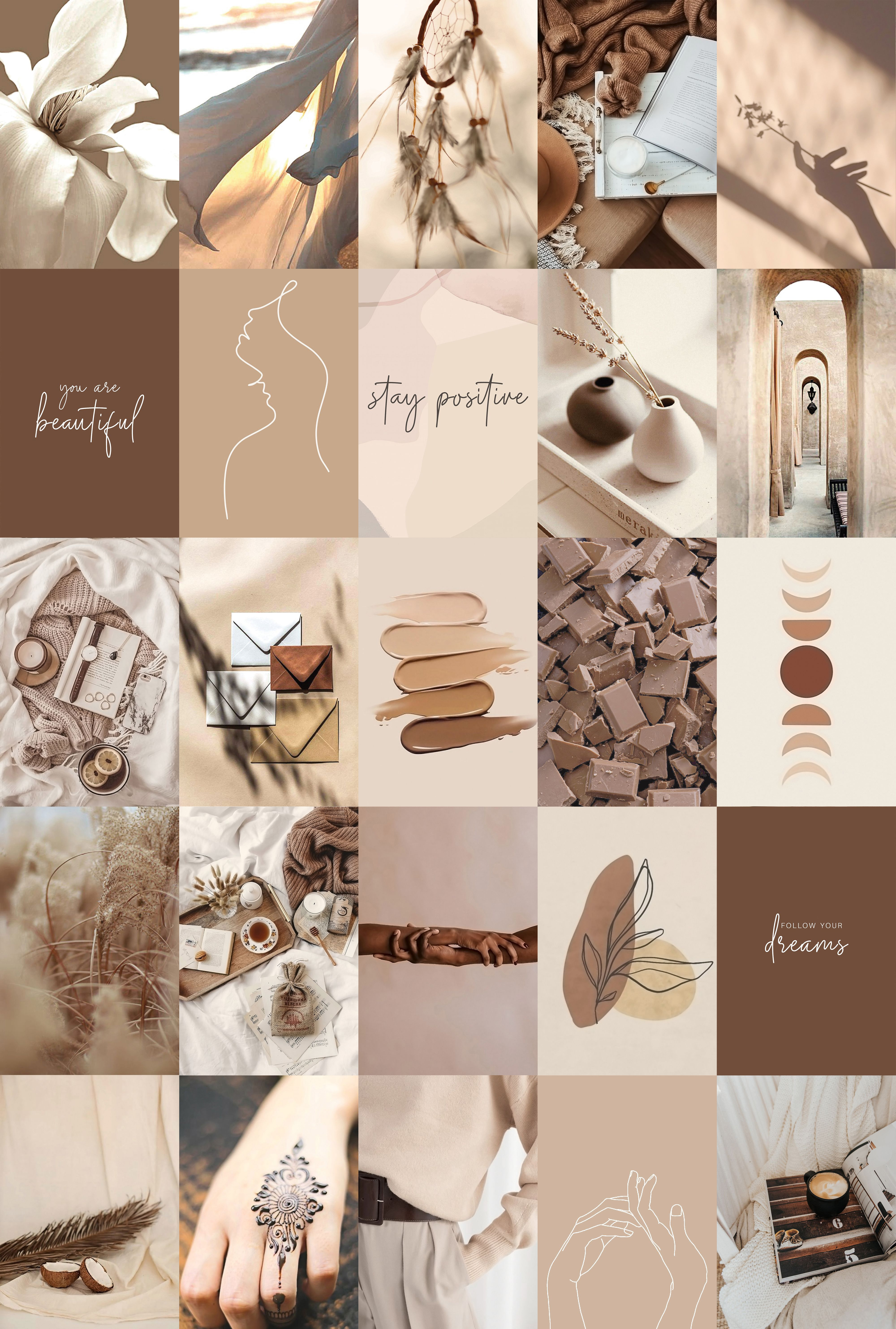You can also upload and share your favorite brown aesthetic desktop wallpapers. Boho Collage Kit Aesthetic Beige Cream Brown, Trendy Girl ...